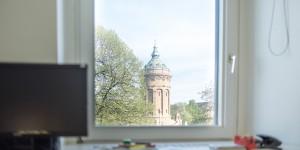 Gemeinschaftspraxis für Herz- und Gefaesskrankheiten in Mannheim Blick auf den Wasserturm